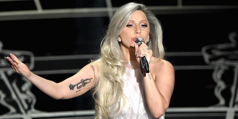 Above: Lady Gaga performing on the Academy Awards. Stock Photo.
