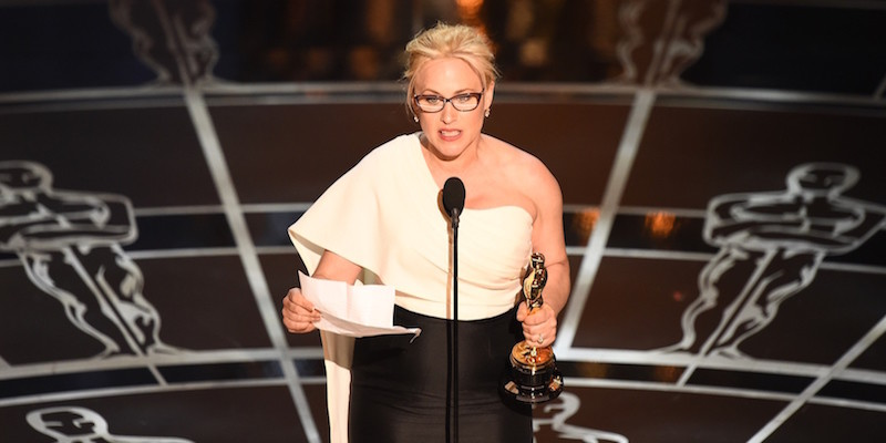 Above: Patricia Arquette in the midst of her Academy Award acceptance speech. Stock Photo.