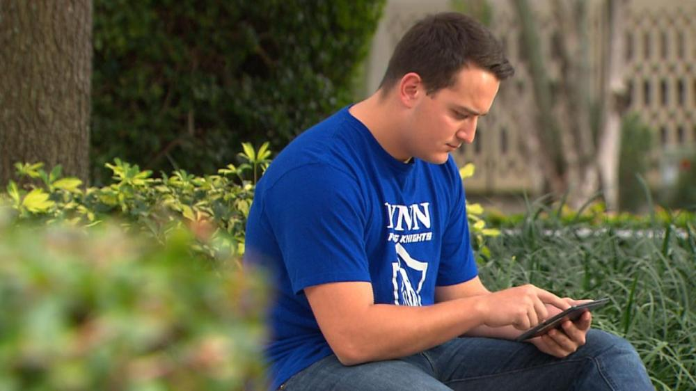 Above: Lynn student Mike Van Casteren as featured on NBC Nightly News. Stock Photo.
