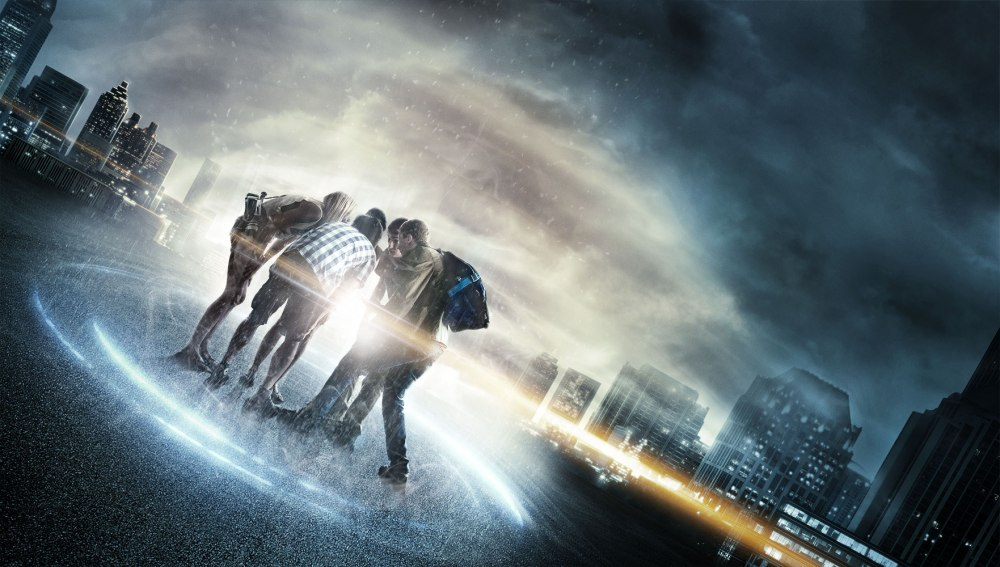 "Above: The cast of ""Project Almanac."" Stock Photo."