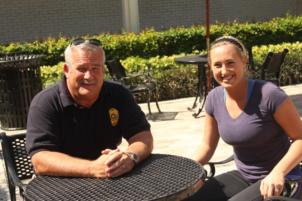 Above: Campus Safety Chief Larry Rickard and Liz Raffa, graduate student and community advisor of EML Residence Hall. Stock Photo.