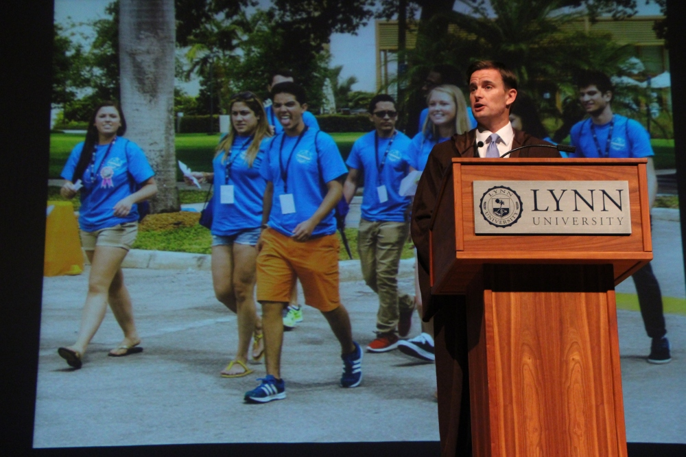 Above: Lynn President Kevin Ross at the State of the University address. Stock Photo.