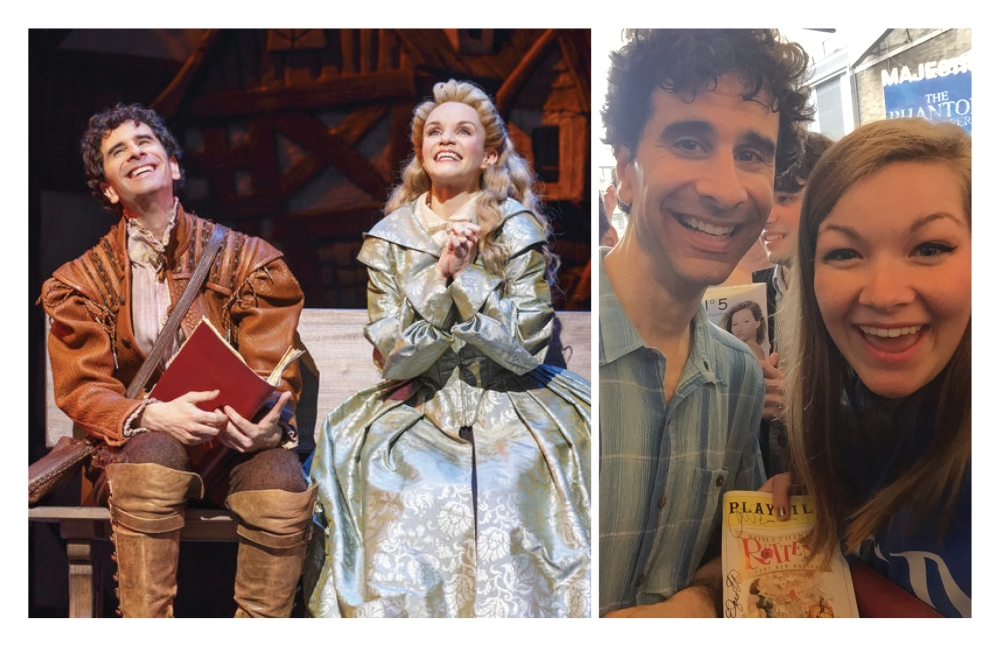 "Above: Cariani and Kate Reinders in ""Something Rotten!"" on the right. Mariani and Schwarzkopf after the show on the left. Stock Photos."