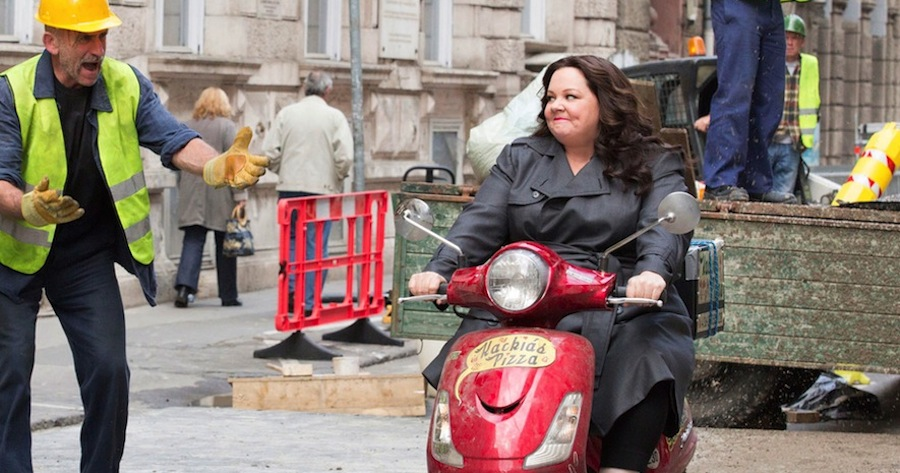 """Above: Melissa McCarthy brings the action and the laughs in """"Spy."""" Stock Photo."""