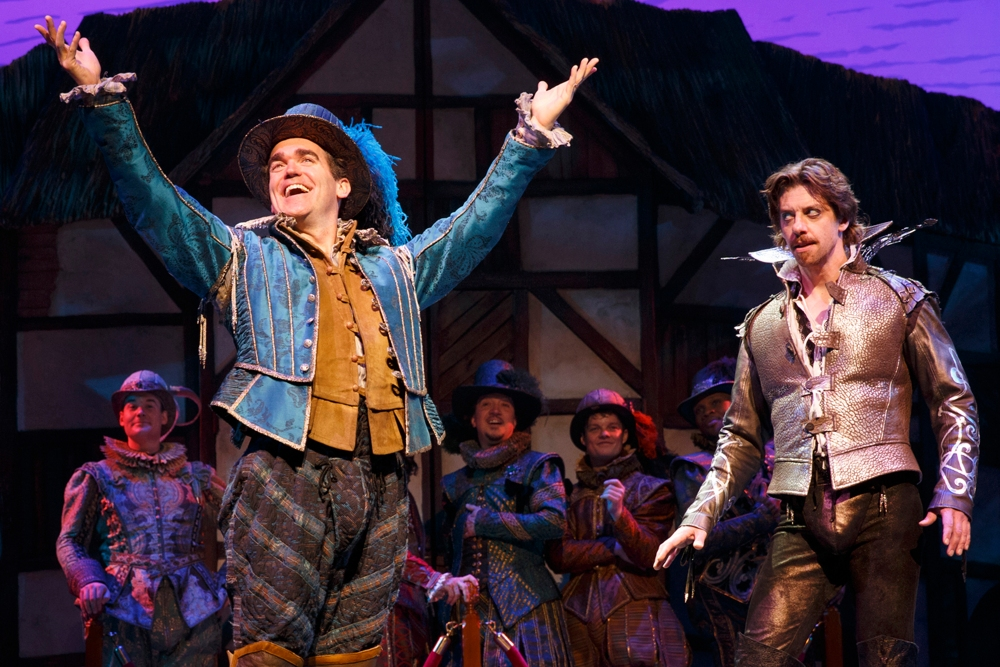 """Above: Brian d'Arcy James and Christian Borle in """"Something Rotten!"""" Photo Credit: Joan Marcus"""