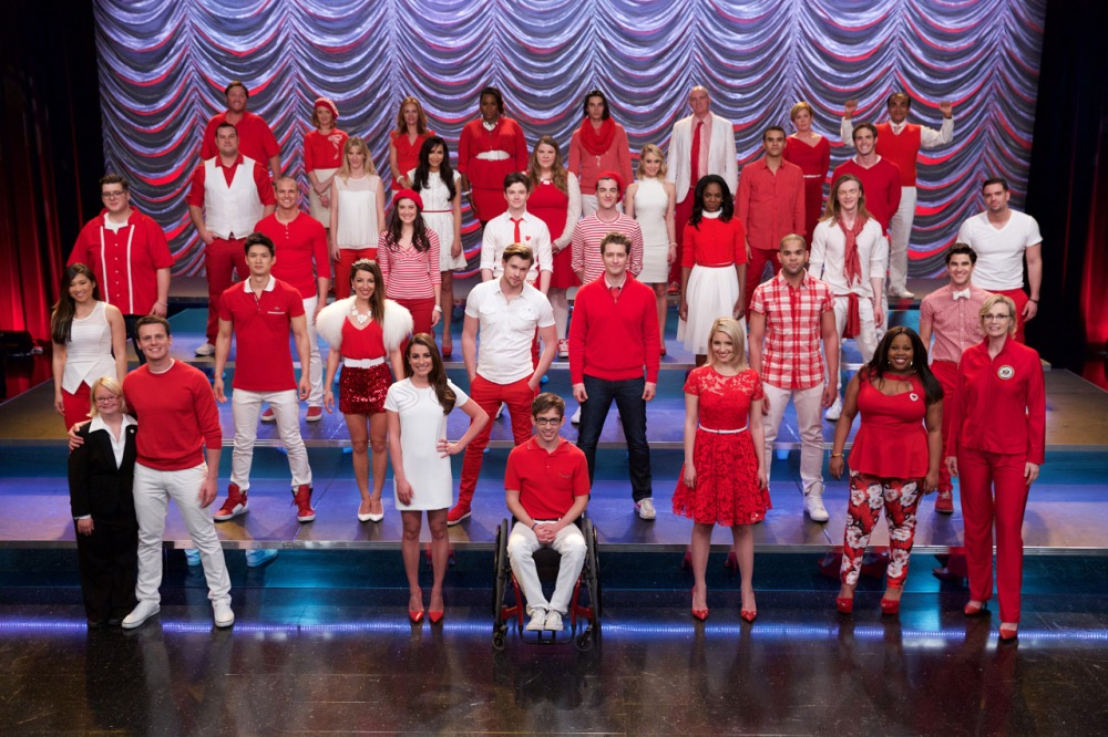 """Above: Almost the entire cast got back together for one final and very special performance in the series finale of """"Glee."""" Stock Photos."""