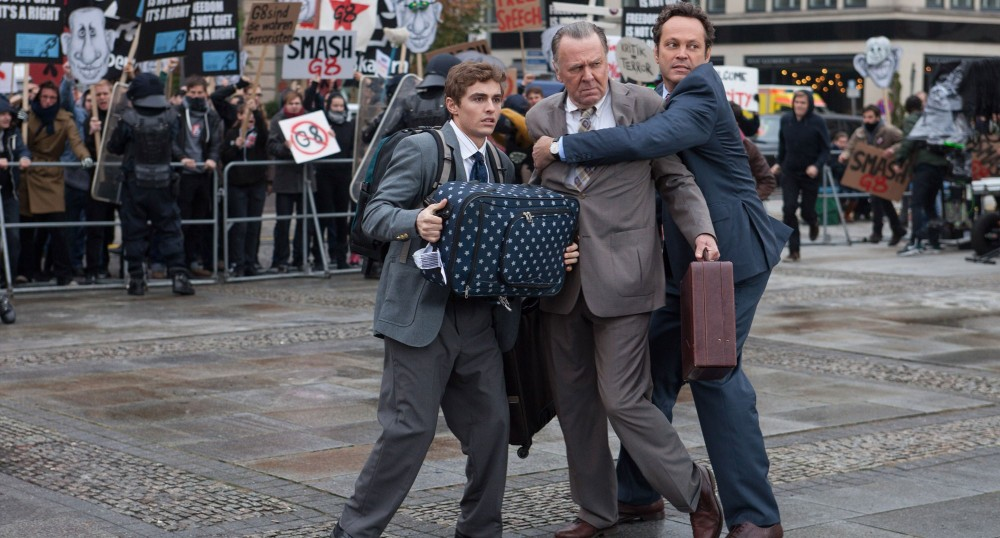 "Above: Dave Franco, Tom Wilkinson and Vince Vaughn star in ""Unfinished Business."" Stock Photo."