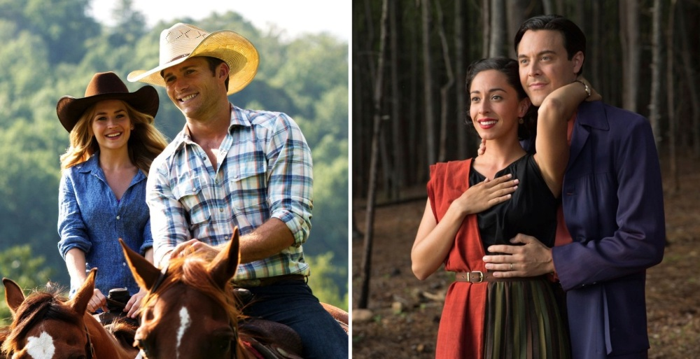 """Above: Britt Robertson, Scott Eastwood, Oona Chaplin and Jack Huston star as two couples figuring out life in two different time periods in """"The Longest Ride."""" Stock Photos."""